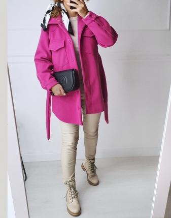 płaszczyk koszulowy różowy lamaja 3