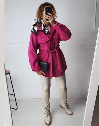 płaszczyk koszulowy różowy lamaja 4