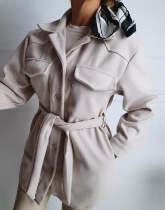 jasny płaszcz  z paskiem 9