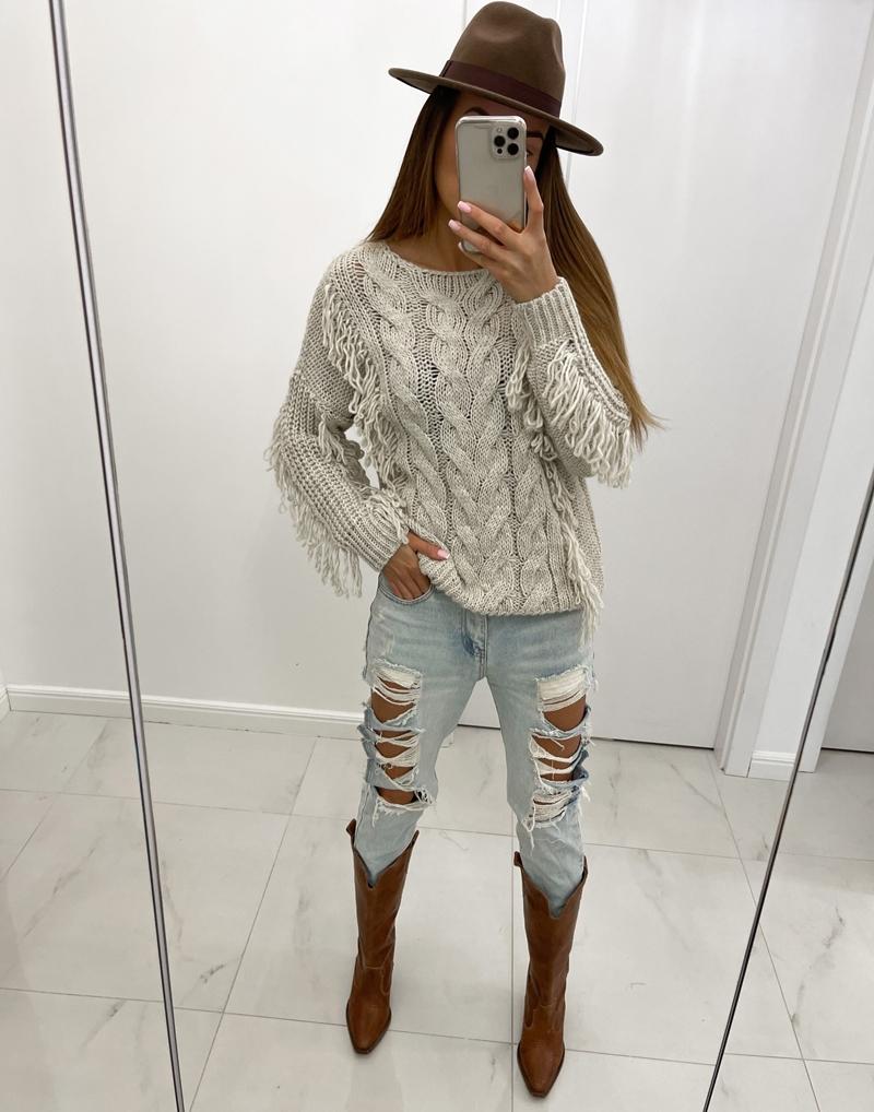sweter beż  z frędzlami