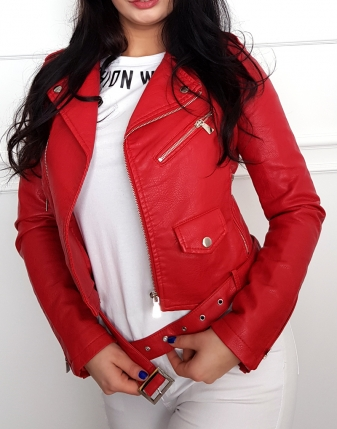czerwona damska ramoneska
