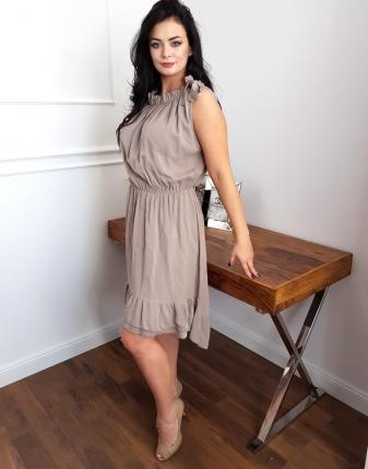 sukienka z falbaną szara