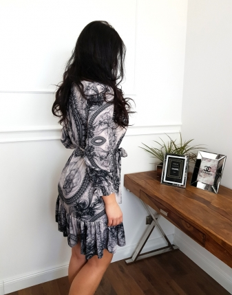 sukienka szara wzorzysta