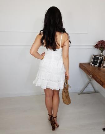 Biała sukienka bawełniana z koronką