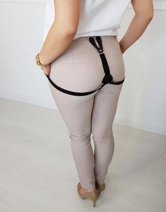 Spodnie beżowe z szelkami