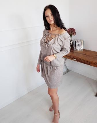 sukienka tunika beżowa