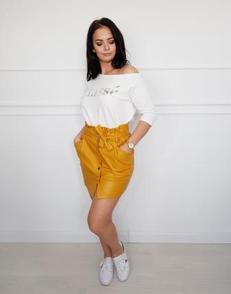 spódniczka żółta  skórzana