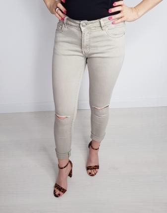 spodnie jeans beż