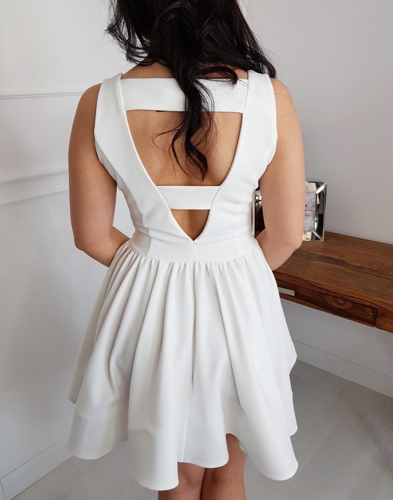0704a0d7d7 elegancka sukienka damska biała koktajlowa kloszowana