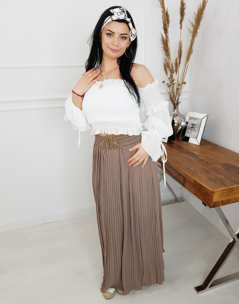 dea87c54 letnia damska długa spódnica maxi plisowana beżowa , butik internetowy