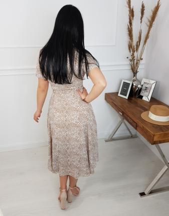sukienka w kwiatki beżowe łączka