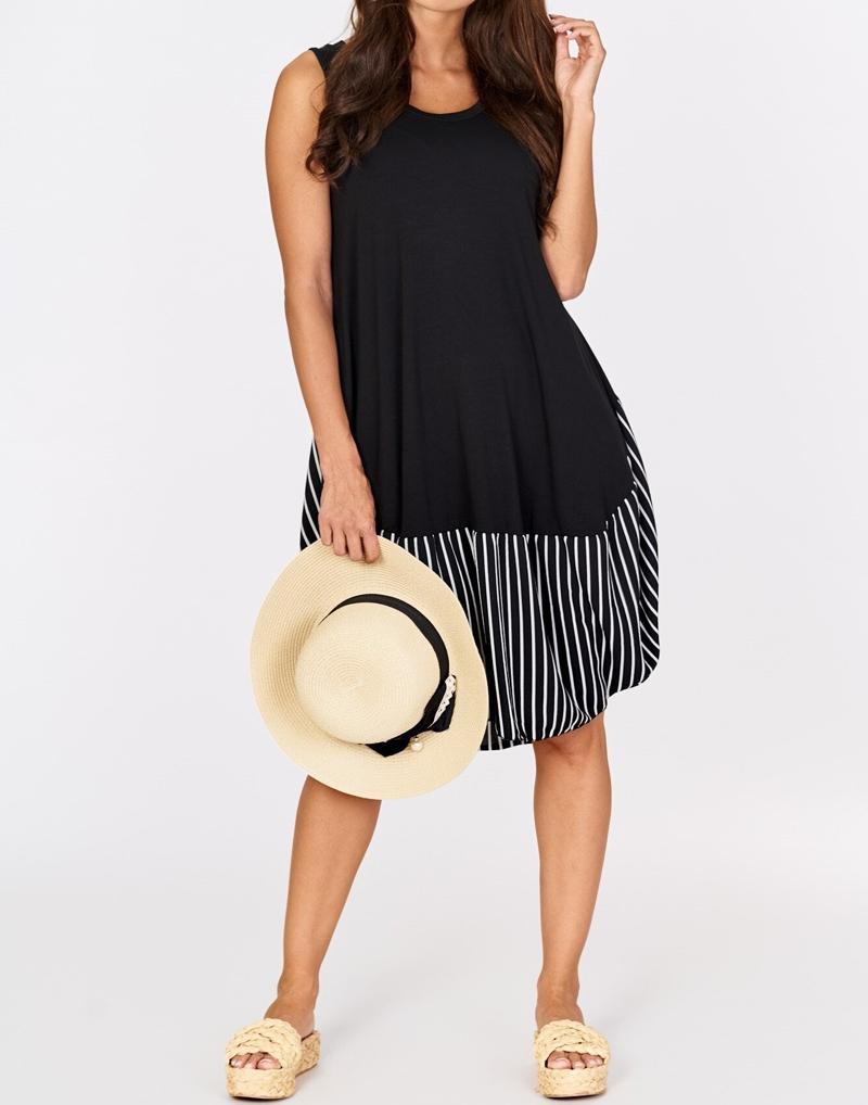 sukienka czarna w paski