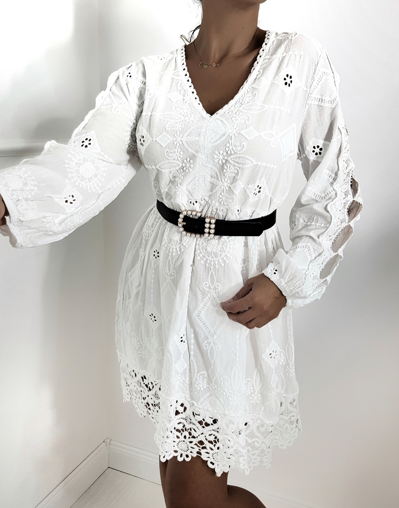letnia sukienka damska tunika biała haftowana z gipiurą, butik online