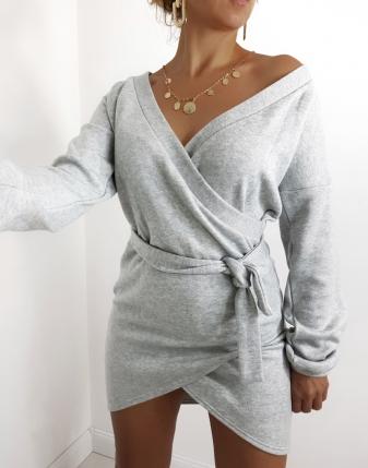 sukienka dzianinowa szara kopertowa