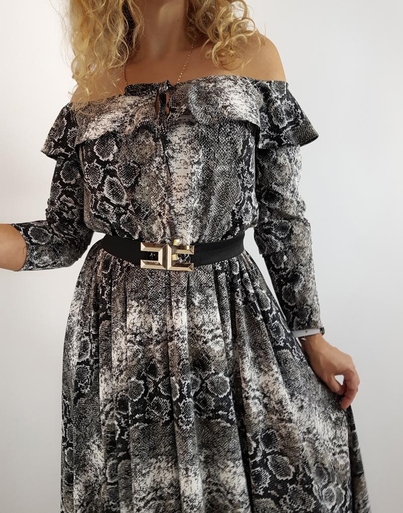 sukienka maxi wąż ciemna