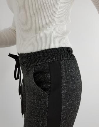 spodnie czarne brokatowe z lampasem