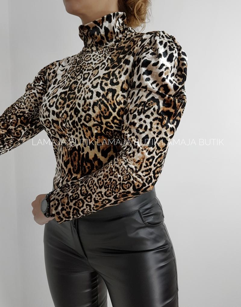 bluzka welurowa pantera
