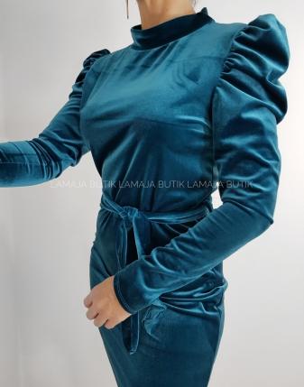 sukienka welurowa zielona z bufkami