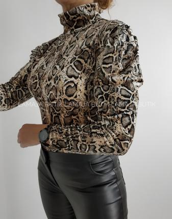 welurowa bluzka wąż