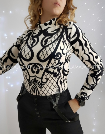 bluzka welurowa biała wzorzysta