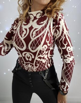 bordowa bluzka welurowa