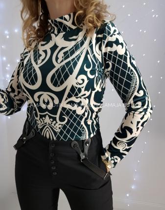 bluzka welurowa zielona z wzorem