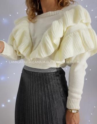 sweter z falbanami ecru