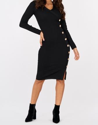 sukienka czarna złote napy