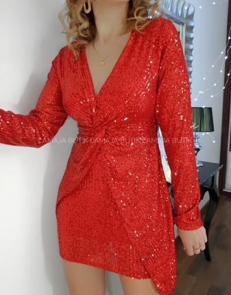 sukienka czerwona cekinowa