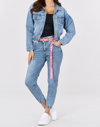 Kurtka jeansowa marszczona