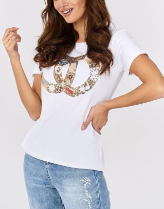 t-shirt biły z nadrukiem