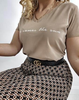 t-shirt beżowy