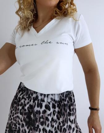 t-shirt biały z napisem