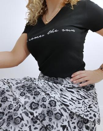 spódnica z falbanami szara wzór