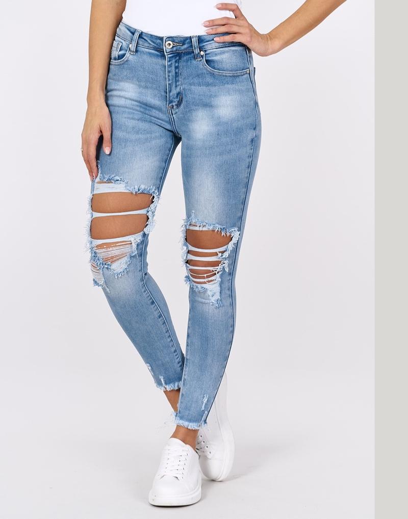 spodnie jeansowe ankle z dziurami