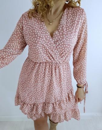 sukienka różowa w groszki