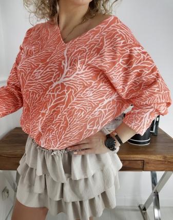 sweterek łososiowy z dekoltem