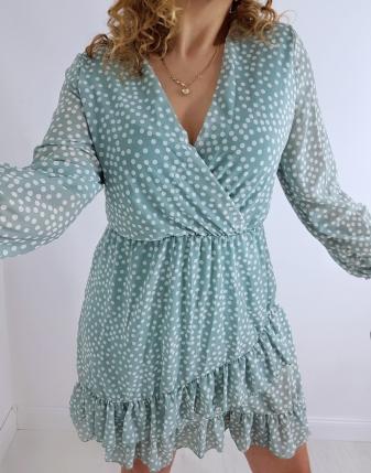 sukienka miętowa w groszki