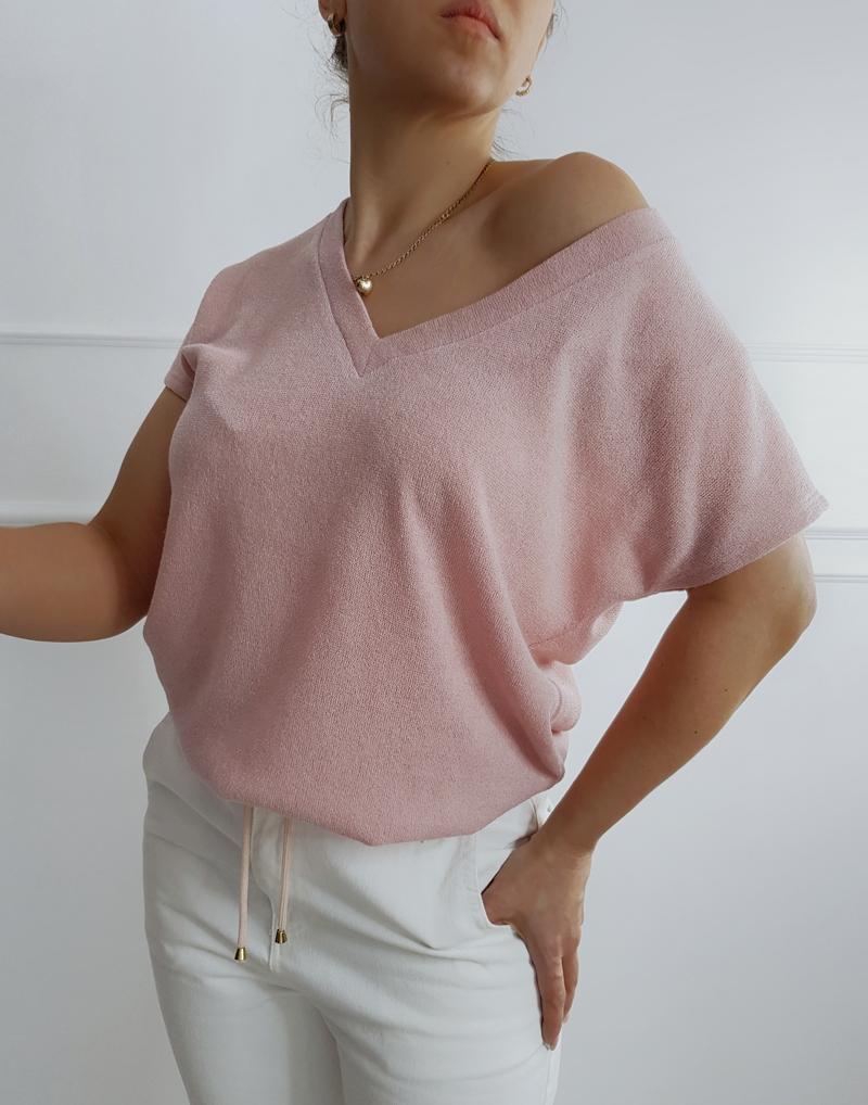 bluzka sweterkowa róż