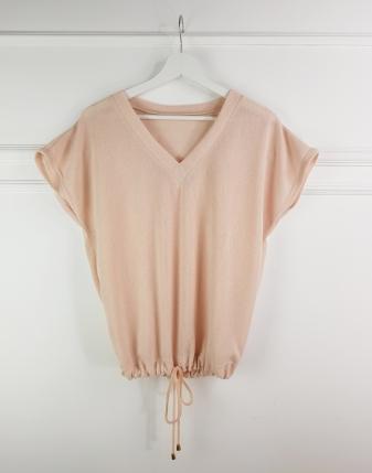 bluzka z dekoltem brzoskwiniowa