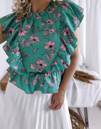 bluzka satynowa  w kwiatk