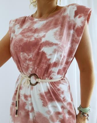 sukienka maxi batik róż