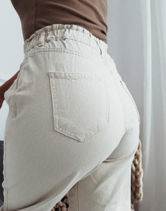 beżowe miętowe spodnie piramidki