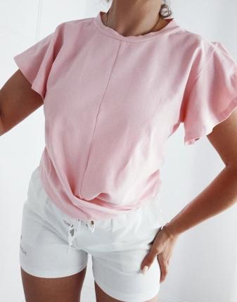 bluzka przeplatana różowa
