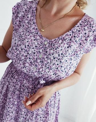 sukienka w kwiatki fioletowa