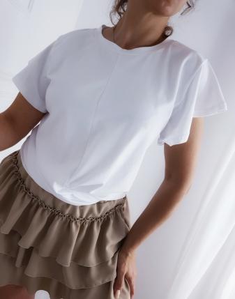 spódniczka mini beżowa z falbankami