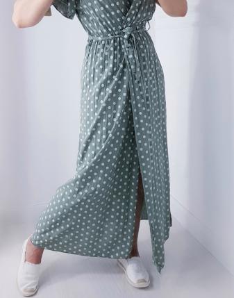 sukienka MAXI khaki w groszki