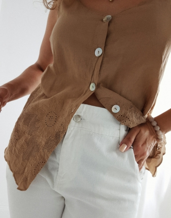 bluzka haftowana ażurowa
