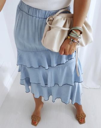 spódnica jeans z falbanami