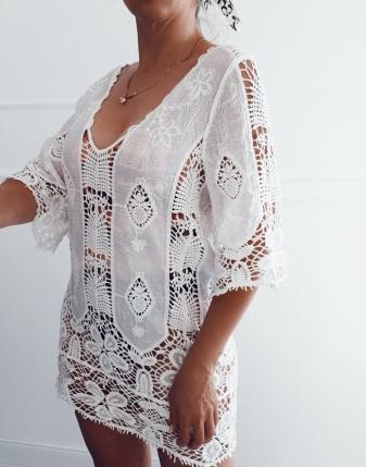 tunika plażowa haftowana koronkowa